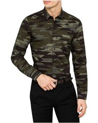 BOSS - L/s Cotton Camo Print Shirt - Lyst