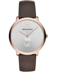 Emporio Armani - Brown Leather Strap Watch 42mm - Lyst