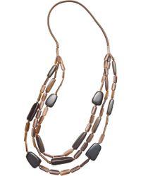 David Jones   Triple Strand Resin Bead Necklace   Lyst