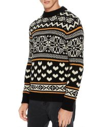 Scotch & Soda - Chunky Pullover With Fair Isle Intarsia Patterns - Lyst