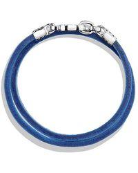 David Yurman   Chevron Double Wrap Leather Bracelet In Blue   Lyst