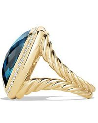 David Yurman - Albion® Ring With Hampton Blue Topaz And Diamonds In 18k Gold, 20mm - Lyst