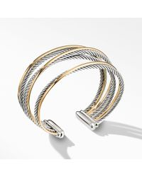 David Yurman - Crossover Four-row Cuff With 18k Gold, 21mm - Lyst