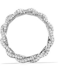 David Yurman - Dy Wisteria All Pave Twist Ring With Diamonds In 18k White Gold, 4mm - Lyst