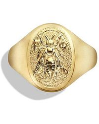 David Yurman - Petrvs Bee Signet Ring In 18k Gold - Lyst