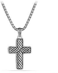 David Yurman | Chevron Cross With Black Diamonds | Lyst