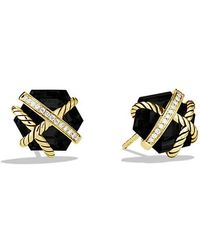 David Yurman - Cable Wrap Earrings With Black Onyx And Diamonds In 18k Gold, 10mm - Lyst