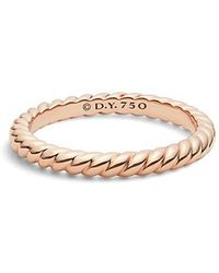David Yurman - Dy Unity Cable Wedding Band In 18k Rose Gold, 2.45mm - Lyst