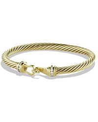 David Yurman | Cable Classic Buckle Bracelet With Diamonds In 18k Gold, 5mm | Lyst