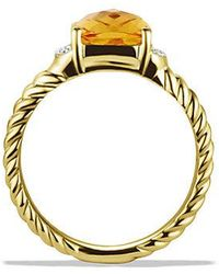 David Yurman | Petite Wheaton Ring With Citrine And Diamonds In 18k Gold | Lyst