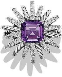 David Yurman - Starburst Ring With Diamonds And Amethyst In Silver, 23mm - Lyst