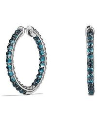 David Yurman - Osetra Hoop Earrings With Hampton Blue Topaz - Lyst