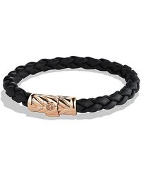 David Yurman | Chevron Rubber Weave Bracelet In Black With 18k Rose Gold, 8mm | Lyst