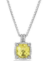 David Yurman - Châtelaine Pave Bezel Pendant Necklace With Lemon Citrine And Diamonds, 9mm - Lyst