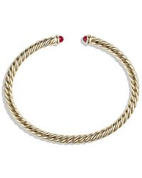 David Yurman - Cable Spira Bracelet With Rubies In 18k Gold, 4mm - Lyst