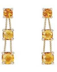 David Yurman - Chatelaine® Linear Chain Earrings With Citrine And Diamonds In 18k Gold - Lyst