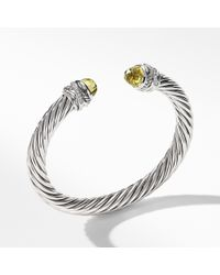 David Yurman - Cable Classic Crossover Bracelet With Lemon Citrine And Diamonds, 7mm - Lyst