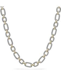 David Yurman - Cushion Link Necklace With Blue Sapphires And 18k Gold, 12.5mm - Lyst