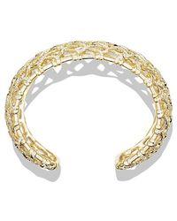 David Yurman - Venetian Quatrefoil Wide Cuff Bracelet With Diamonds In Gold - Lyst