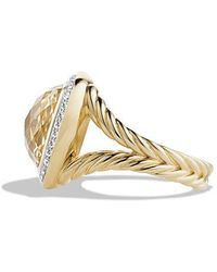 David Yurman - Albion® Ring With Champagne Citrine And Diamonds In 18k Gold, 14mm - Lyst