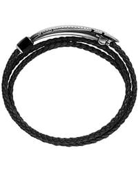 David Yurman - Feather Triple-wrap Bracelet In Black Leather With Black Onyx - Lyst