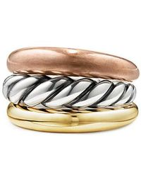 David Yurman - Pure Form® Mixed Metal Three-row Ring With Bronze, Silver And Brass - Lyst