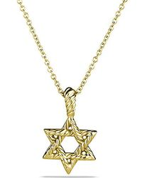 David Yurman | Cable Collectibles Star Of David Necklace With Diamonds In 18k Gold | Lyst