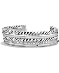 David Yurman - Stax Narrow Cuff Bracelet With Diamonds, 16mm - Lyst