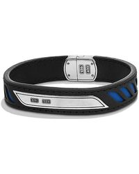 David Yurman   Graphic Cable Leather Id Bracelet In Blue   Lyst