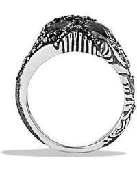 David Yurman | Waves Small Skull Ring With Ruby And Black Diamonds | Lyst