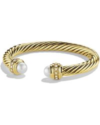David Yurman - Cable Classics Bracelet With Pearls And Diamonds In 18k Gold, 7mm - Lyst