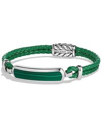 David Yurman - Exotic Stone Bar Station Bracelet In Green Leather With Malachite - Lyst