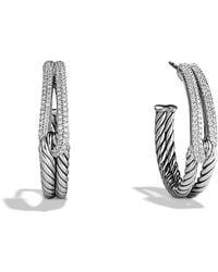 David Yurman - Labyrinth Hoop Earrings With Diamonds - Lyst