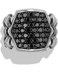 David Yurman | Armory Signet Ring With Black Diamonds | Lyst