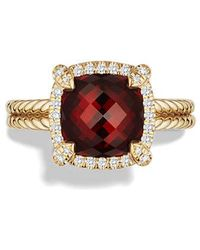 David Yurman - Châtelaine Pave Bezel Ring With Garnet And Diamonds In 18k Gold, 9mm - Lyst