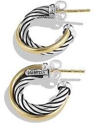David Yurman - Crossover Hoop Earrings With 18k Gold - Lyst