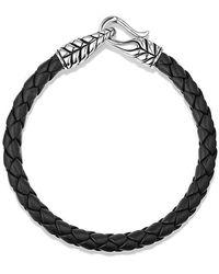 David Yurman | Chevron Woven Leather Bracelet In Black, 6mm | Lyst