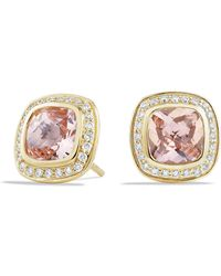 David Yurman - Albion® Earrings With Morganite And Diamonds In 18k Gold, 7mm - Lyst