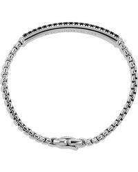 David Yurman - Pavé Box Chain Id Bracelet With Black Diamonds - Lyst