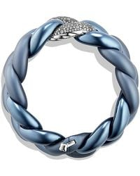 David Yurman | Belmont Curb Link Bracelet With Gray Diamonds In Titanium With An Accent Of 18k White Gold | Lyst