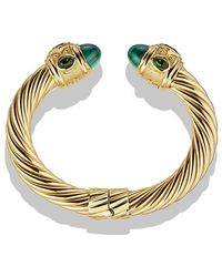 David Yurman - Renaissance Bracelet With Malachite And Green/chrome Diopside In 18k Gold, 10mm - Lyst