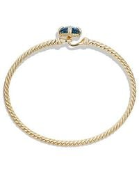 David Yurman - Chatelaine Bracelet With Hampton Blue Topaz And Diamonds In 18k Gold, 8mm - Lyst