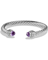 David Yurman - Cable Classic Crossover Bracelet With Amethyst And Diamonds, 7mm - Lyst