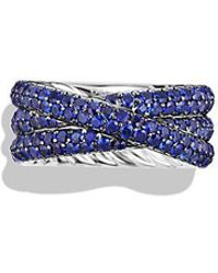 David Yurman - Crossover Ring With Sapphires In 18k White Gold - Lyst