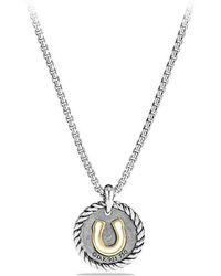 David Yurman - Petite Pave Horseshoe Charm Necklace With Diamonds And 18k Gold - Lyst