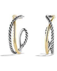 David Yurman | Crossover Hoop Earrings With 14k Gold | Lyst