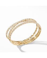 David Yurman - Paveflex Three Row Bracelet In 18k Yellow Gold With Diamonds - Lyst