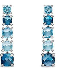 David Yurman - Châtelaine Linear Earrings With Hampton Blue Topaz, Blue Topaz And Diamonds - Lyst
