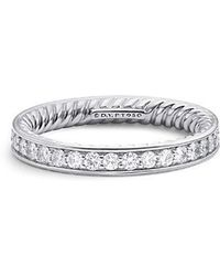 David Yurman - Dy Eden Eternity Wedding Band With Diamonds In Platinum, 3mm - Lyst