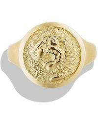 David Yurman - Petrvs Lion Signet Pinky Ring In 18k Gold - Lyst